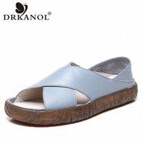 DRKANOL Frauen Sandalen 2020 Echtes Leder flache Gladiator Sandalen für Frauen Sommer Freizeitschuhe Peep Toe Slip On Vintage 74RJ #