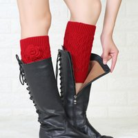 Knit Fower Rose Anklet Leg Warmers Short Boot Cuffs Toppers Leggings Women girls Autumn Winter Stockings Socks Fashion black white will and sandy