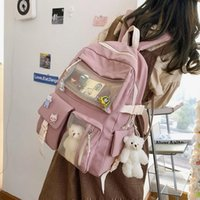 School Bags 2021 Preppy Cute Pink Backpack Women Haraguku Candy Colors Fancy High For Teenage Girl Travel Rucksack