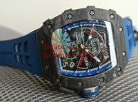 Saatler Erkek KV V4 Fabrika ETA 7750 Chronograph Yarış Karbon Fiber Spor RM11-04 Flyback İskelet Kauçuk Bantları Şeffaf Otomatik Moda Erkekler Mavi İzle