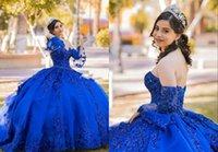 Glitter Royal Blue Abnehmbare Juliet Langarm Quinceanera Kleider 2022 Kugelkleid Kristall Perlen Zwei 2 Stück Mexikanisch XV Abend Party Prom Kleid Vestidos 15 Anos