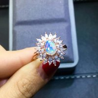 Cluster Rings Natural Opal Changing Color Sun Flower Ring S925 Sterling Silver Fine Fashion Wedding Charming Jewelry For Women