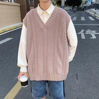 Men's Sweaters Sweater Vest Men V-neck Plian Color Shrug Knitted Couples Ins Plus Size XXL Oversize Harajuku Vests Chic Korean Streetwear