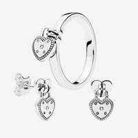 Love Heat Pendant Ring and Earrings set for Pandora 925 Silver Wedding Rings Stud Earring with Original box for Women