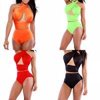 Mujeres Bikini Swimwear Summer Cross Halter Halter Traje de baño Sexy Damas Trajes de baño Bikini Sets Maillot de Bain 050310 177 W2