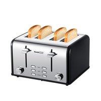 Fabricantes Tostadora 4 Rebanada, Geek Chef Slot de acero inoxidable Extra ancho con paneles de doble control de Bagel / Función de descongelación / cancelación, 6 ajustes de tostado de pan