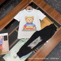 2021 Высокий прилив Новые Летние Мальчики и Девушки Мода Печатный Медведь Короткие Рукав Детский Прекрасный Костюм