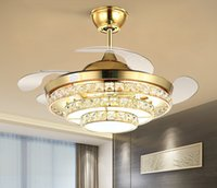 Nordic роскошный невидимый потолочный вентилятор лампы простой современный серебряный декор домашнего дома живущая столовая хрусталь светодиодный потолочный вентилятор огни