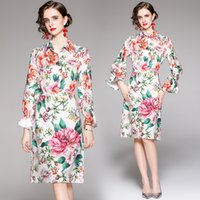 Floral Ladies Sets Shirt+skirt Long Sleeve Autumn 2021 Hot New Two Piece Set High End Fashion Womens Printed Blouse Skirt Suits