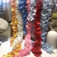 24 Renkler Zarif Yapay Çiçek Wisteria Çiçek Asma 34 cm Ev Bahçe Duvar Asılı DIY Rattan Otel Parti Düğün Dekorasyon Için 494 S2