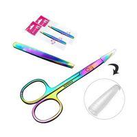 Profissional Arco-íris Cor Aço Inoxidável Sobrancelha Tweezer Sobrancelha Mini Tesouras Clipe Anti-estático Face Removedor de Cabelo Ferramenta