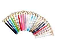 크리 에이 티브 금속 볼펜 큰 보석 다이아몬드 20 색 고급 펜 크리스탈 유리 카와이 패션 학교 사무용품