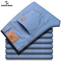 Jeans pour hommes Shan Bao 2021 Marque d'été et d'automne Droit lâche lâche Lyocell Denim mince classique style badge léger