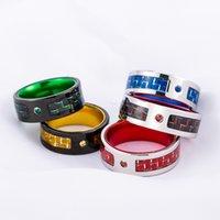 Мода Trend красочный титановый сталь углеродное волокно алмазное кольцо для мужчин
