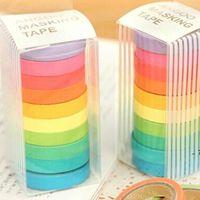 캔디 색상 무지개 접착 테이프 DIY 손 계정 도구 10 롤 / 상자 다채로운 종이 접착제 테이프 홈 장식 스티커 GWD10999