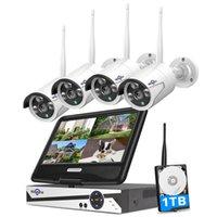 "Hiseeu 8CH 3MP 1536P كاميرات الأمن اللاسلكية كيت في الهواء الطلق للماء 1080P 2MP كاميرا IP نظام CCTV مجموعة مع 10.1 ""مراقب NVR"