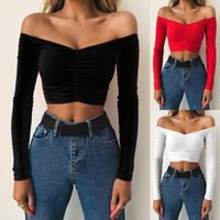 Women's T-Shirt Women Sexy Off Shoulder Long Sleeve Shirt Cropped Tops Party Club Short Slim T Womens Outfit Top
