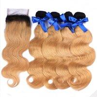 Brasileño Ombre Human Hair 4bundles con cierre # 1b / 27 Miel Rubia Ombre Onda de cuerpo 4x4 Cierre de cordón 4x4 con tramantos marrón claro Ombre WEAV CCJP