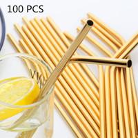 마시는 빨 대 100pcs / 세트 금속 밀짚 재사용 금 도매 스테인레스 스틸 튜브 215mm 똑바로 구부러진 음료