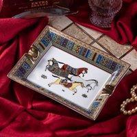 수제 아트 그리드 패턴 세라믹 시가 재떨이 멋진 럭셔리 연기 애쉬 트레이 홀더 시가 홈 테이블 책상 액세서리 장식 선물