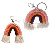 Сумка деталей аксессуары ткачество радуги брелок Boho держатель ключей брелок Macrame Charm автомобиль висит