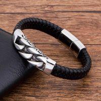 Charm Genuine Leather Black Stainless Steel Magnetic hk Bracelet Men Birthday Gift For boy friendPW6I