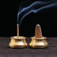 Fragrance Lamps Vintage Home Incense Burner Mini Stick Holder Round Copper Pressure Relief Craft Decorative Supplies