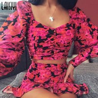 Two Piece Dress LAISIYI 2021 Long Puff Sleeve Floral Print Sexy Cute Crop Top Ruffles Skirt 2 Pieces Set Spring Women Streetwear Outfit Club