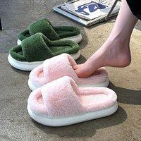 Slippers Warm Fluffy Women Men Winter Cotton Shoes Open Toe Couples Thick Sole Furry Non-slip Plush Faux Fur Indoor Floor Slides