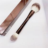 Peçe tozu makyaj fırçası - Çift uçlu toz fosforlu ayarı kozmetik makyaj fırça ultra yumuşak sentetik saç C0301
