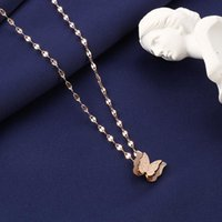 Pendant Necklaces Extremely Delicate Rose Gold Color Matte Butterfly Necklace Unique Stainless Steel Women Statement Animal Choker Party
