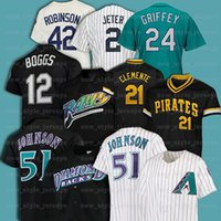 21 Roberto Clemente 51 Randy Johnson 42 Jackie Robinson 12 Wade Boggs 레트로 남자 Mitchell Ness Baseball Jersey Z20