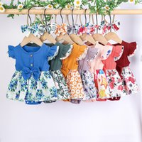 Ins Baby Girl Tutu Romper Dress Headband 2 Pcs Kids Skirt With Bow Flower Print Summer Party Elegant Agaric Lace
