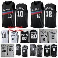 San AntonioSpursMänner Kinder Demar 10 Derozaner Trikots Lamarcus 12 Aldridge 2 Leonard Basketball Trikots 2021 Stadt Jerseys Edition Schwarz Weiß Jugend S-3XL