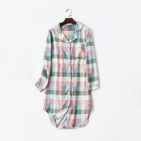 PLID Baumwolle gestreifte Womens Home Clos Homewerk Langarm bei Nacht Kleid Frauen Frühling Sommer Nachthemd Nachthemd Womn