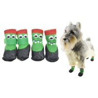 Dog Apparel Non-Slip Traction Control Cat Socks With Straps, Winter Waterproof Pet Protection For Small Large Dogs Shoes Boots 4PCS