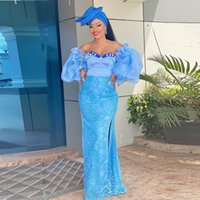Light Blue Off Shoulder Lace Mermaid Prom Dresses Aso Ebi Style Puffy Sleeves Evening Gowns South African Formal Party