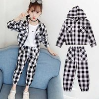 Kids Clothes Set Fashion Teen Girls Tracksuits Autumn Spring 2pcs England Style SportSuits Plaid 8 10 Years Children Clothes Y1009