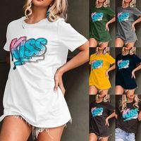 2021 Европейская и американская летняя женская повседневная свободная буква печатает футболку с короткими рукавами мода плюс размер S-5XL