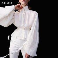 Blusas de las mujeres Camisas Xitao Vintage Linterna Manga Mujeres elegante collar pliegues pliegues para mujer Tops y perspectiva atractiva DMY2727
