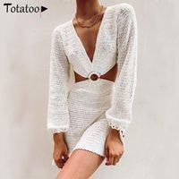 TotAtoop Sexy V шеи вязаное лето пляжное платье корсет См. Скридинг для женщин для женщин 2021 с длинным рукавом вырезать покрытие платья