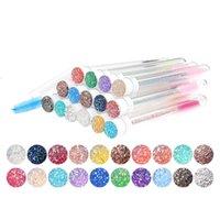 Tube de brosse à sourcils diamants jetable réutilisable de cristaux réutilisables remplaçables anti-poussière étincelante maquillage multi-couleurs