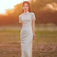 Ethnic Clothing Women Lace Cheongsam Dress China Ladies Temperament Improvement Daily Summer Style