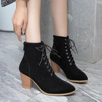 Boots Handmade Combat For Women Fashion Shoes Suede Pointed Toe Lace Up High Heels Ladies Booties Black Ankle Size 10