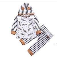 아기 의류 세트 스포츠웨어 깃털 스트라이프 두건이있는 정장 바지 코튼 정장 어린이 솔리드 바지 복장 Onesies Flared Trousers OWB5255