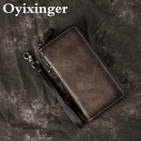 OYIXINGER Vintage Men Wallet Genuine Leather Zipper Clutch For Men Leisure Multi-function Cowhide Purse Retro Long Wallets Male