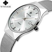 WWOOR бренд мужские часы кварцевые аналоговые даты Японии движение ультра тонкие водонепроницаемые стальные сетки стройные мужские наручные часы серебро для мужчин x0625