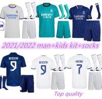 Erwachsene Kinder Kit + Socken Real Madrid Soccer Jerseys 21 22 Benzema Hazard Sergio Ramos Casemiro Asenssio Vinicus JR Modric 2021 2022 Camiseta Männer Full Sets Football Hemden