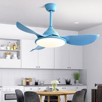 Северная современная железная арт-столовая спальня светодиодный потолочный вентилятор лампы высокого качества ABS вентилятор Blade Blue White кофе висит свет