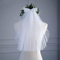Bridal Veils Short Tulle Wedding Dress White Ribbon Edge Bow With Hair Comb Veil Bride Marriage Accessories